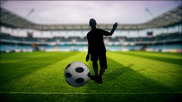 Soccer player kicking ball in stadium - TV Show Intro