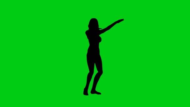 Táncos nő silhouette zöld képernyő élénkség
