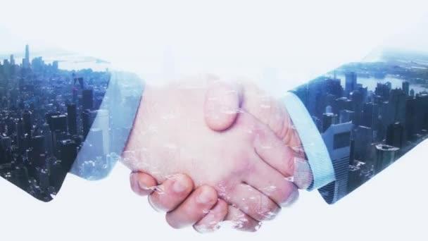 Double Exposure Handshake podnikatel na panoráma