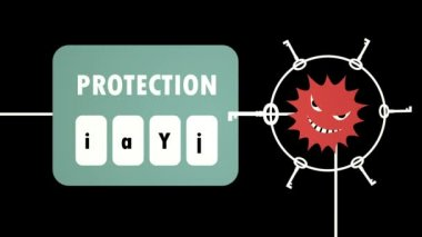 Virus Attacking to System Protection - Animation of the virus trying passwords for hacking the system