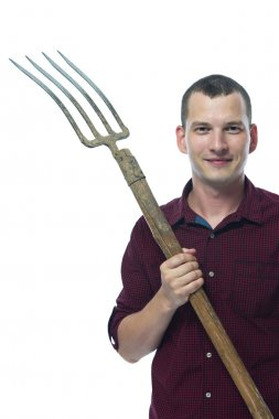 farmer with a pitchfork  on a white background