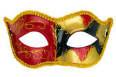 red masquerade mask on a white background