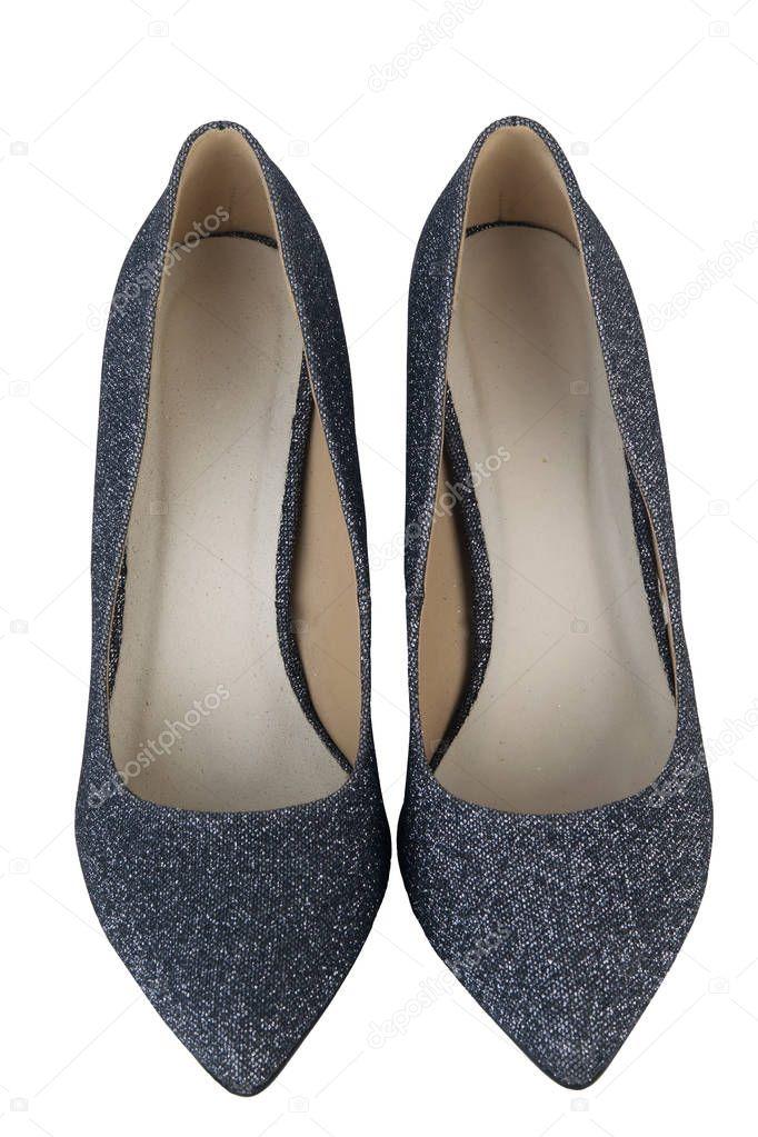20e2b1afd16ab1 ein paar silberne Schuhe auf weißem Hintergrund — Stockfoto ...