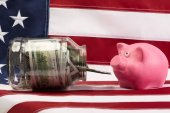 he bank with the money in front of a pink pig on the background of the USA flag