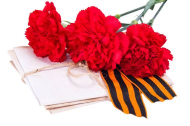 A stack of letters tied with a rope along with red carnations and ribbon to the day of victory, on a white background