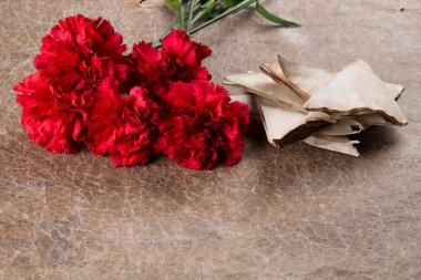 carnations and old letters, on a texture background with an inscription
