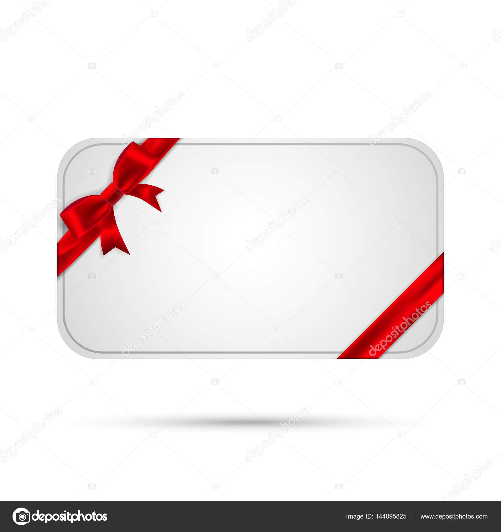 Template Gift Card With Red Bow And Ribbon Vector Eps10 Stock