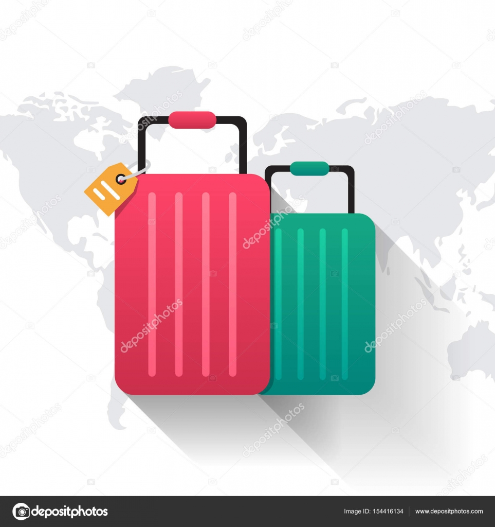 Travel flat suitcase icon and world map vector stock vector travel flat suitcase icon and world map vector stock vector gumiabroncs Image collections