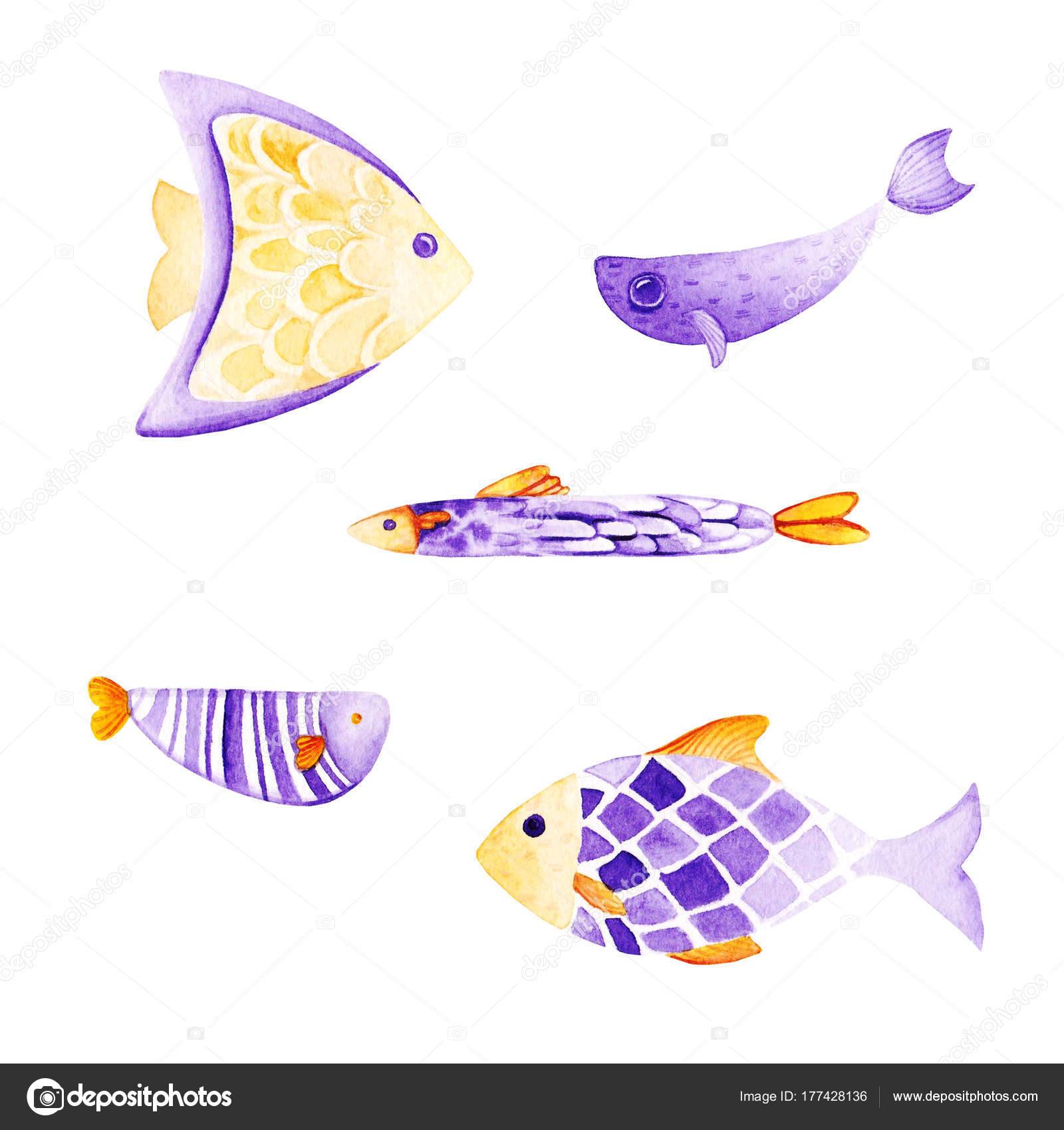 Aquarell Fisch Set. Ultra Violett und Gold Farben. Für Kinder-Design ...