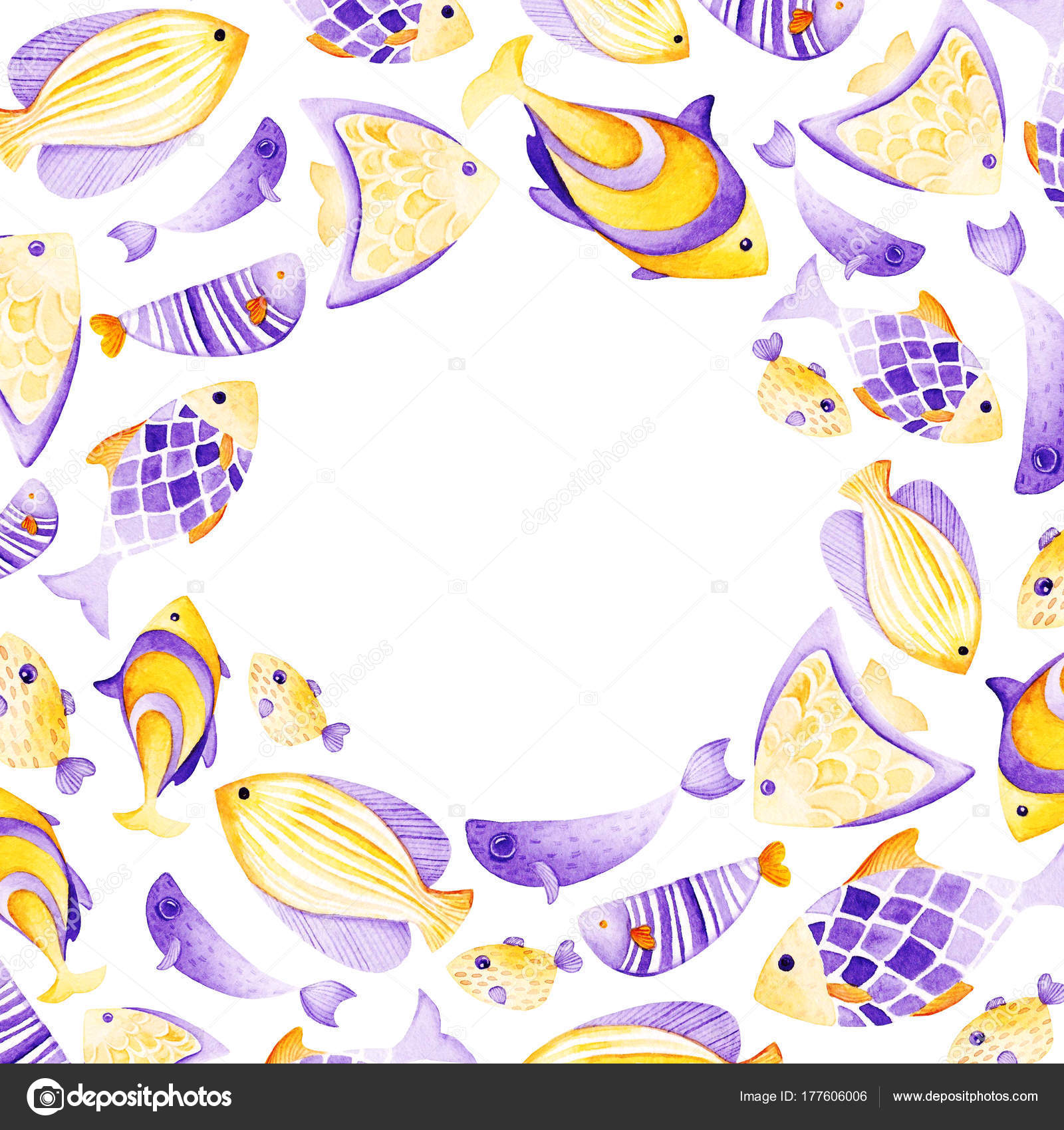 Watercolor fish frame. Ultra violet and gold colors. For children ...