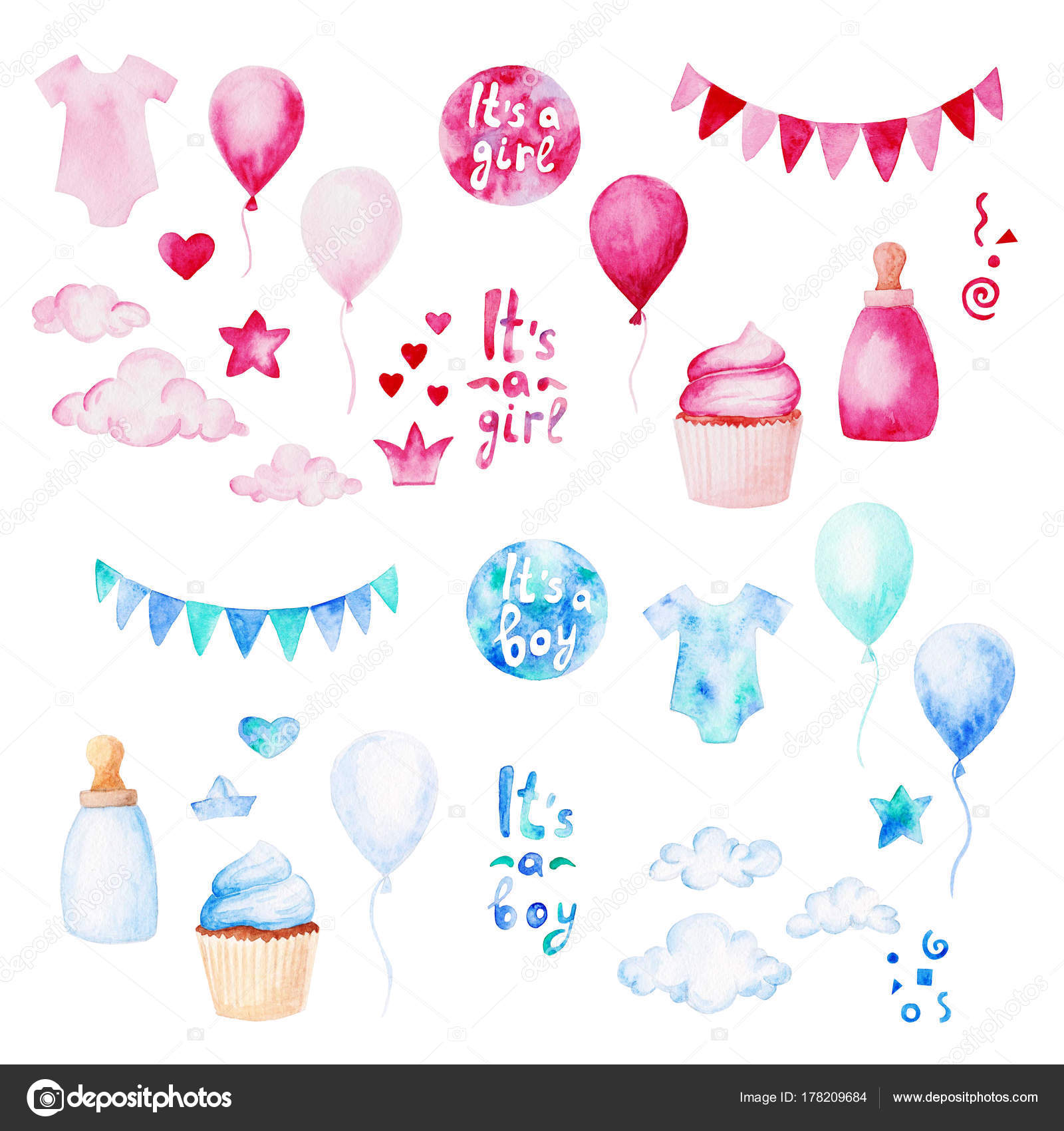best sneakers 2f3a8 19e64 Watercolor baby shower set. Its a boy or girl theme with ...