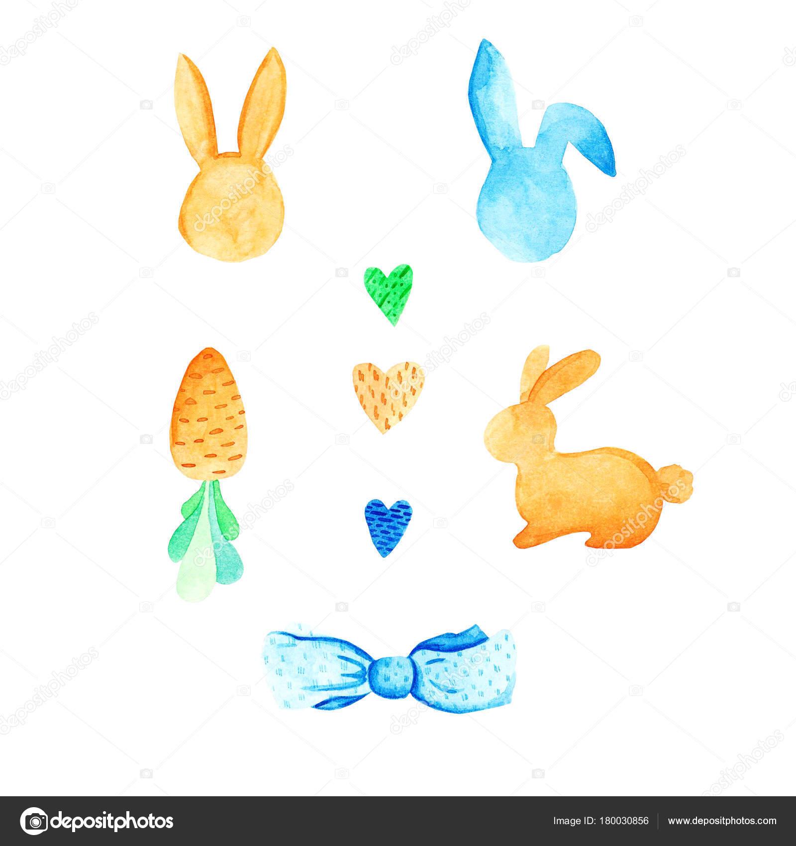Aquarell Ostern Satz: Ei, Kaninchen, beugen. Für Design, Karte ...