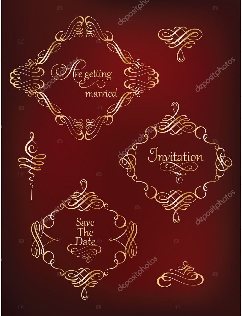 Collection of golden vintage frames and flourishes. — Stock Vector ...