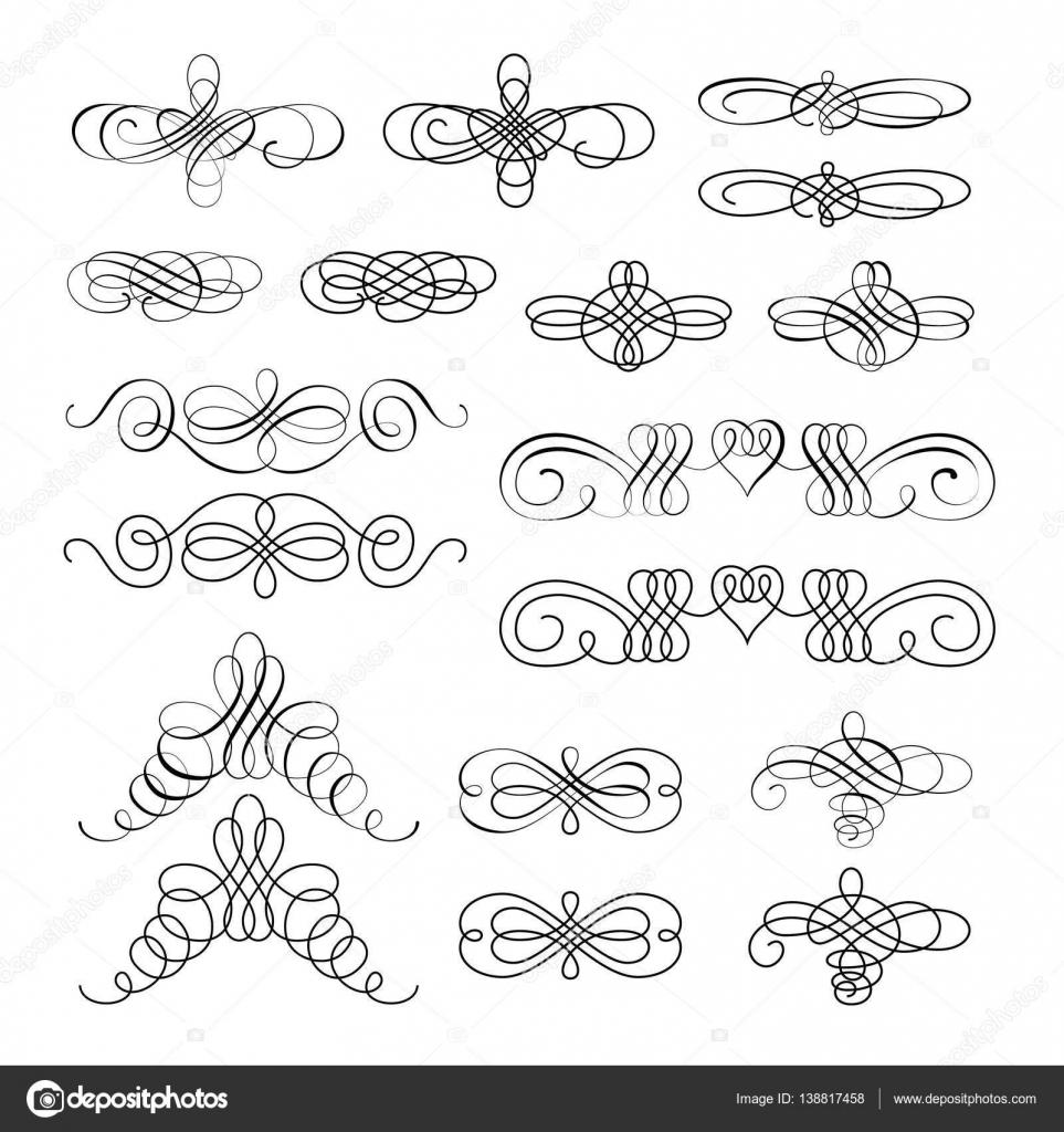 Vector conjunto de elementos de dise o caligr fico y for Adornos para paginas