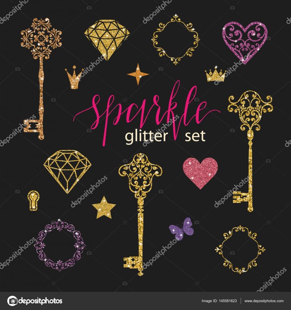 Colección de diamantes de oro brillo, corazones, estrellas, Marcos ...