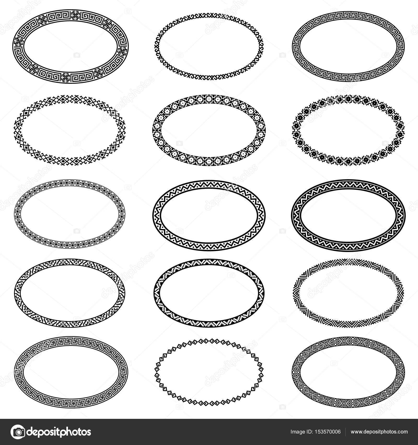 Monochromatische ethnischen ovale Rahmen in Sammlung — Stockvektor ...