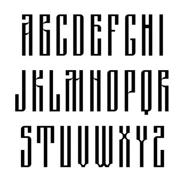 Narrow sans serif font based on old slavic calligraphy. Latin uppercases isolated on white background. Vector