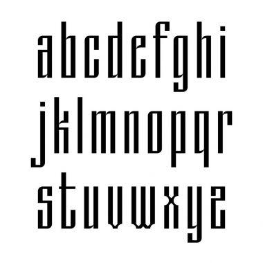 Narrow sans serif font based on old slavic calligraphy. Latin lowercases isolated on white background. Vector
