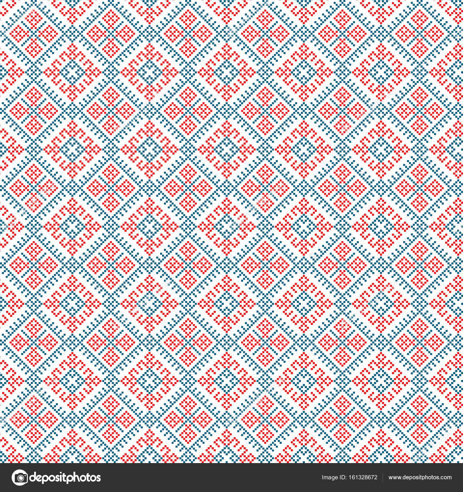 Ethnic Seamless Pattern Background Vector Illustration Traditional Textures In Red Blue And White