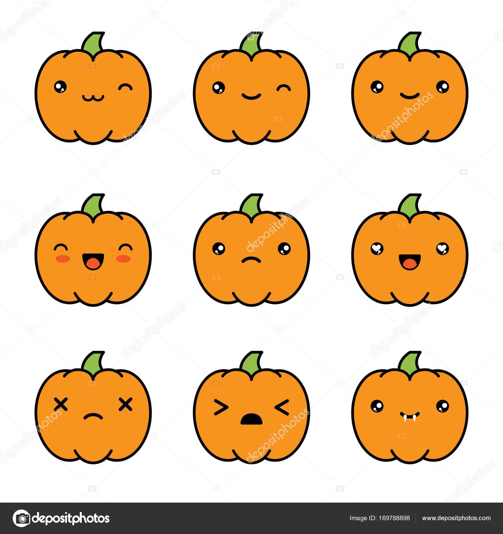 Halloween Kawaii Mignon Citrouilles Icônes Isolés Sur Fond
