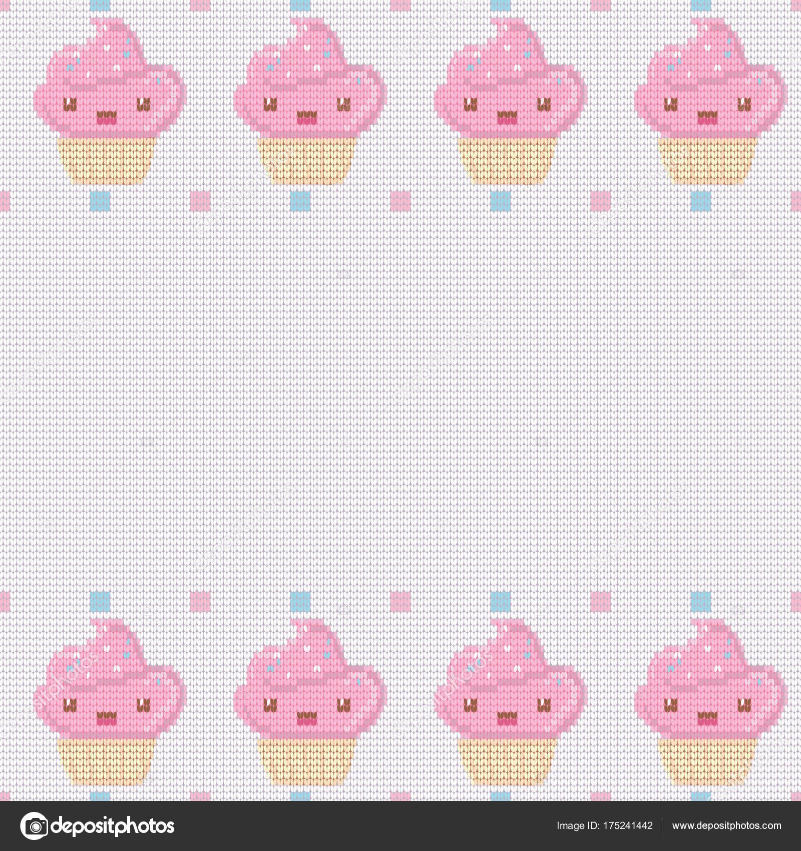 Sfondo Bianco Lavorato A Maglia Per Il Vostro Testo Con Cupcakes