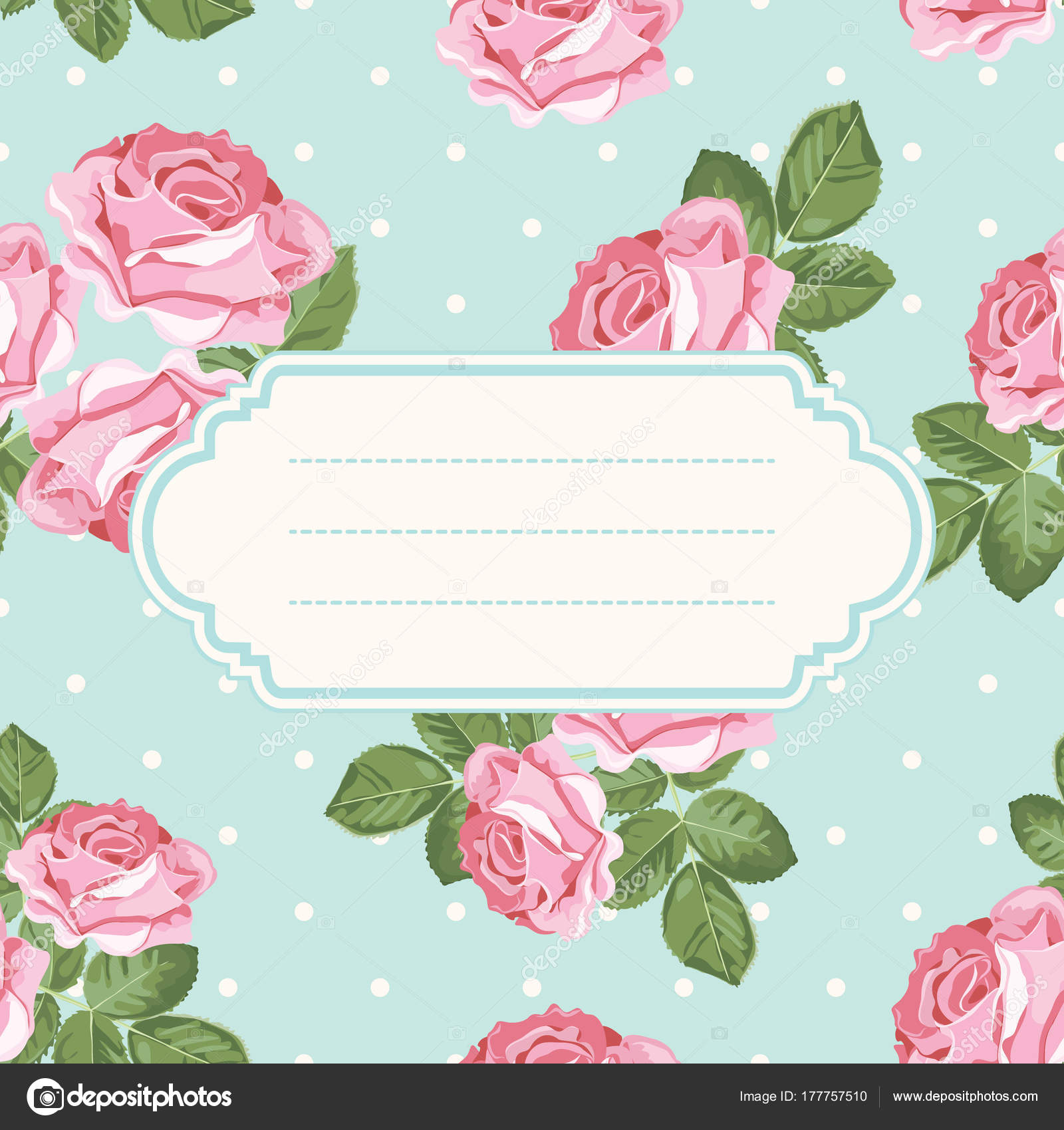 Shabby Chic Rose And Polka Dot Light Green Background With Blank Empty Frame Floral Card Template Vector Illustartion By Marymoart