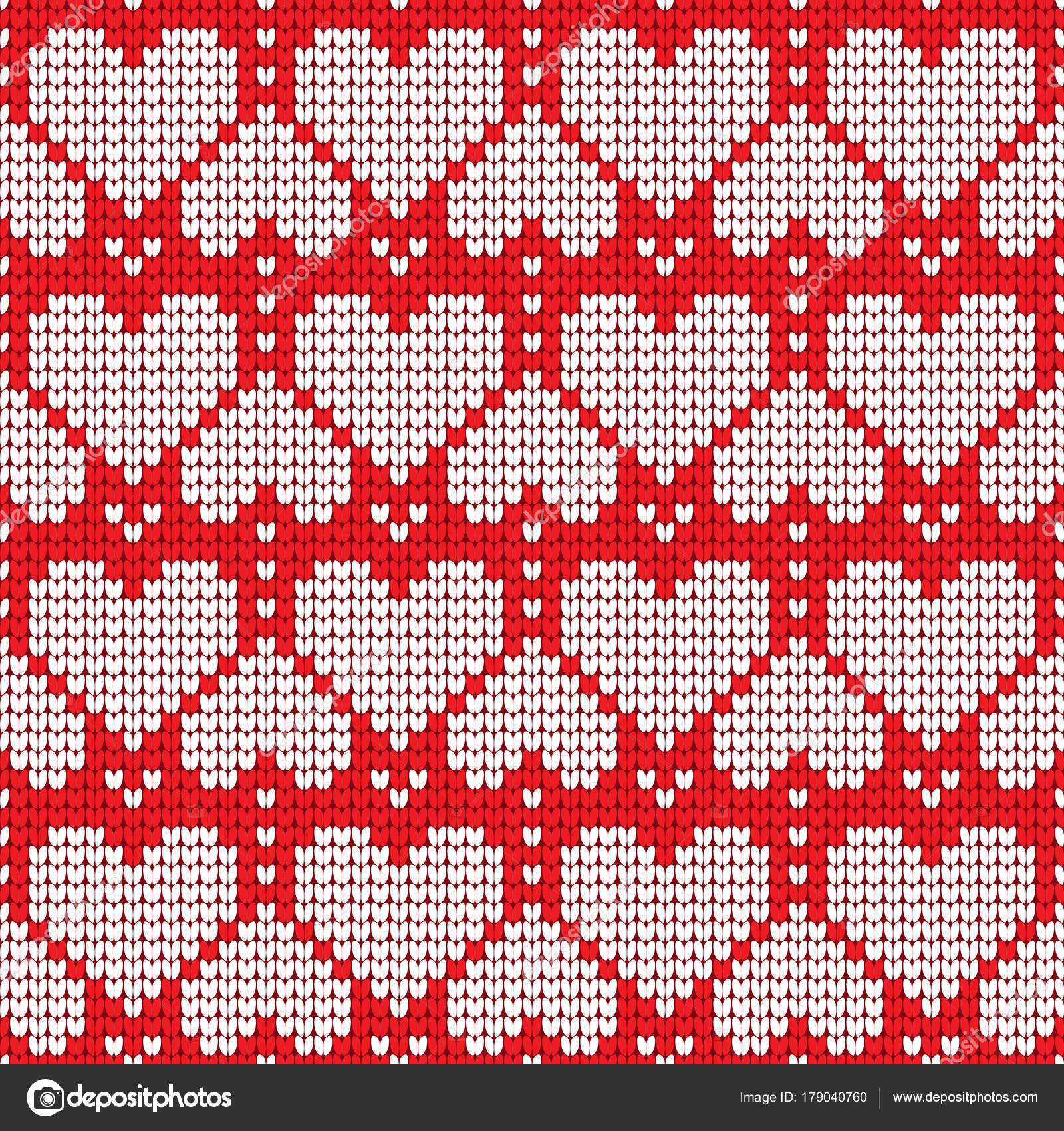 Valentines Day love heart knitted seamless pattern. Textures in red ...