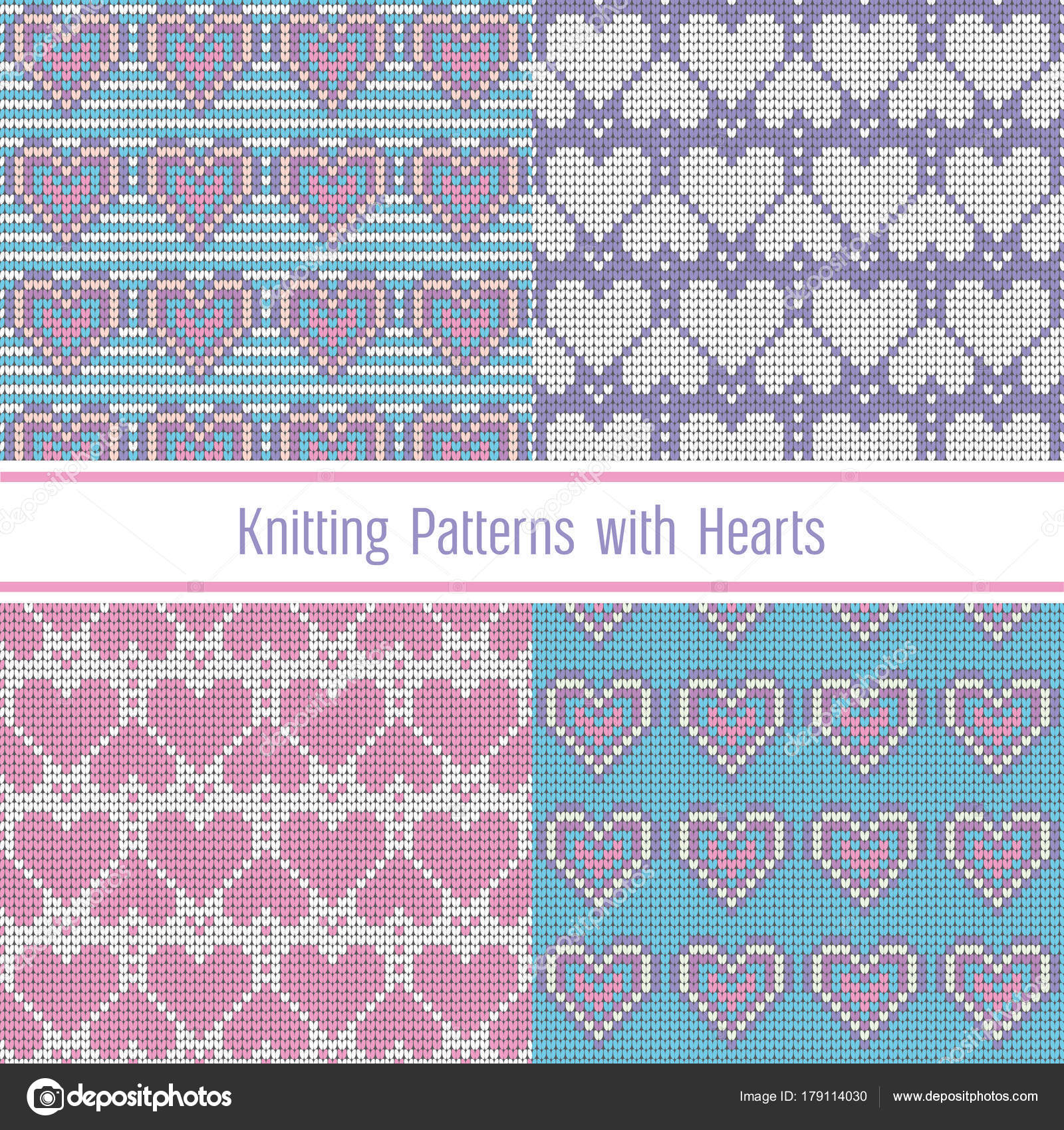 Valentines Day love heart knitted seamless patterns. Set collection ...