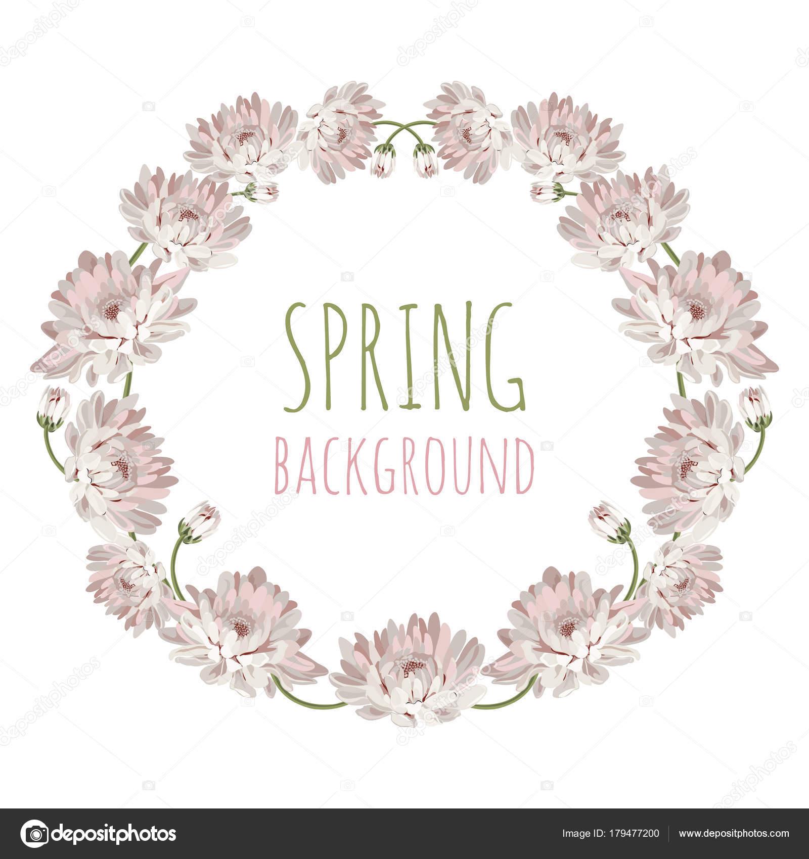 Chrysanthemen. Dekorative Kreis Rahmen mit Blumen für Ihr Design ...