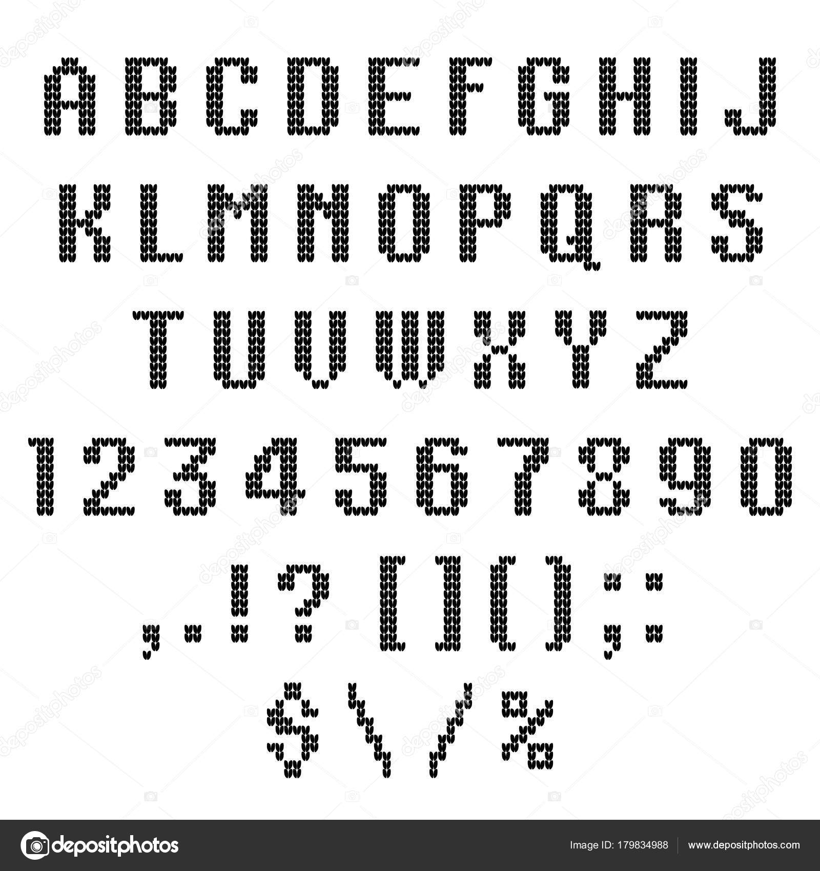 A Knitted Vector Alphabet Latin Letters Numbers Punctuations