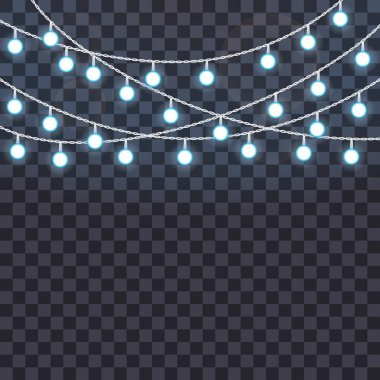 Set of overlapping, glowing string lights on a transparent background. Vector illustration