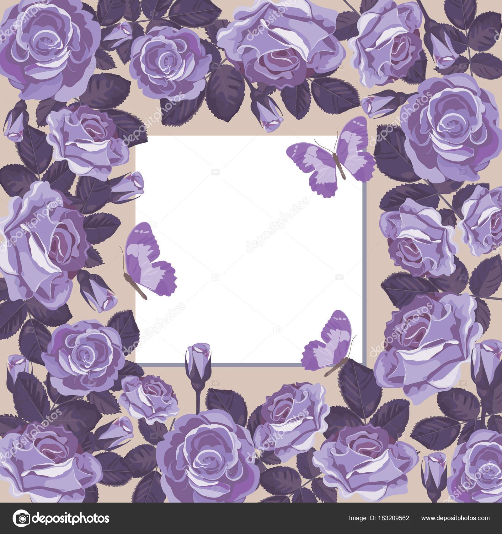 Floral-Kartenvorlage mit leeren Rahmen — Stockvektor © Marymo.art ...
