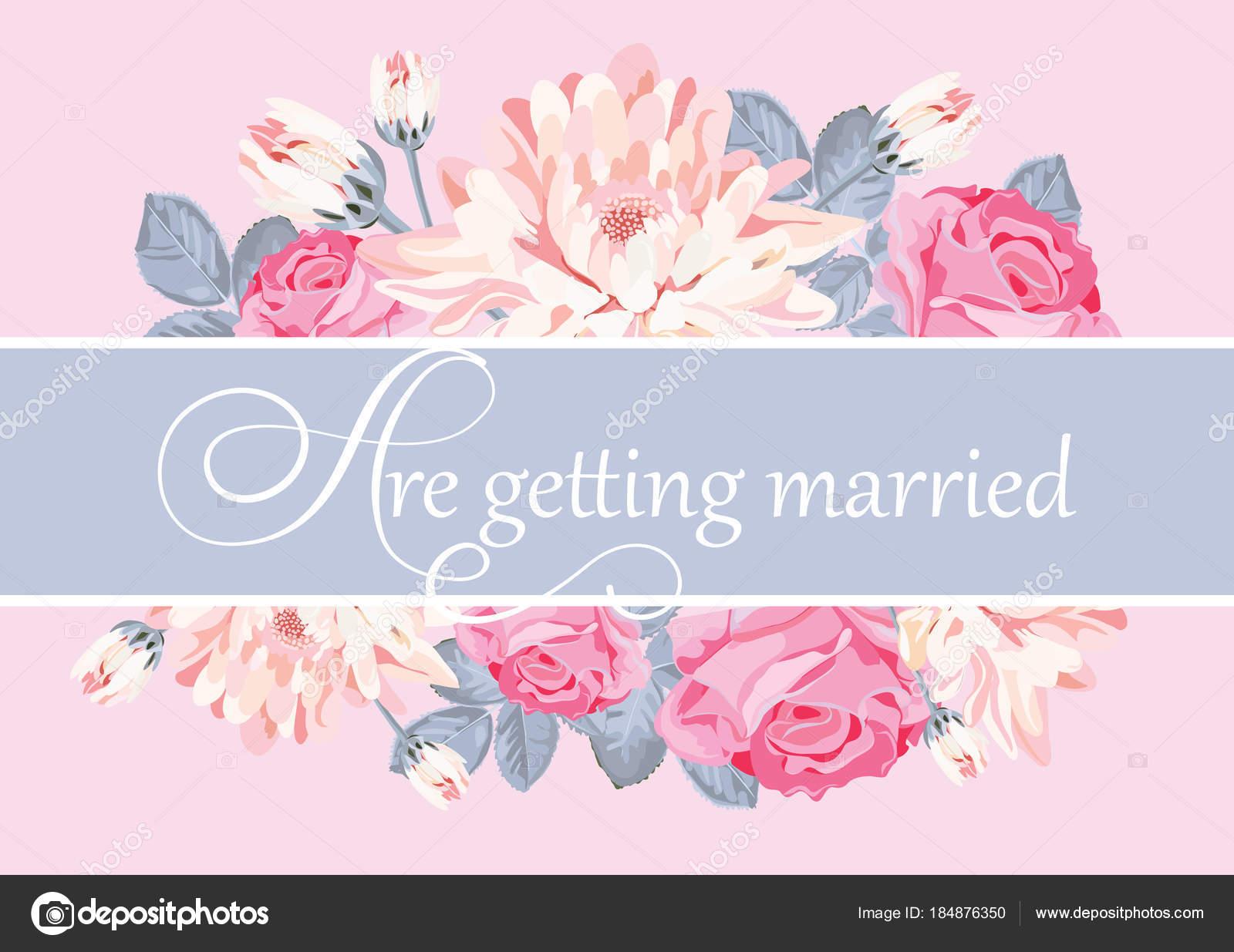 Floral-Kartenvorlage mit Text heiraten — Stockvektor © Marymo.art ...