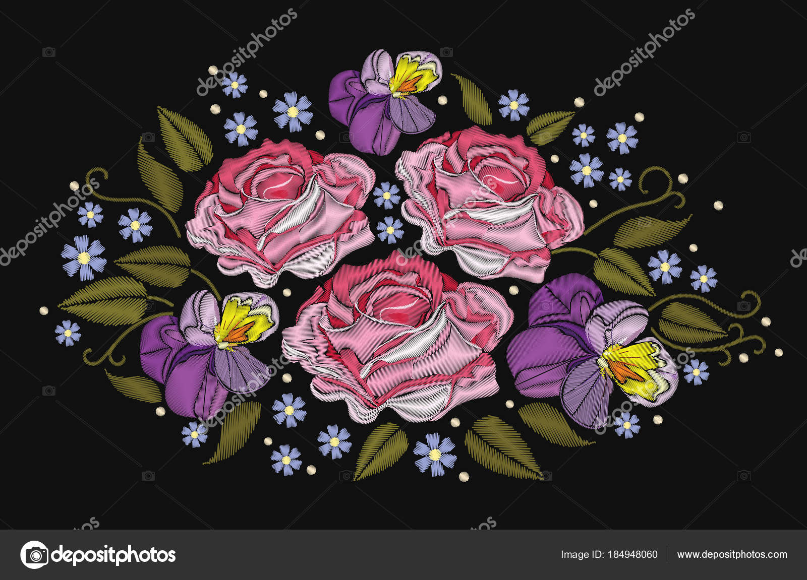 Flowers Roses And Pansies Isolated On Black Background Vector