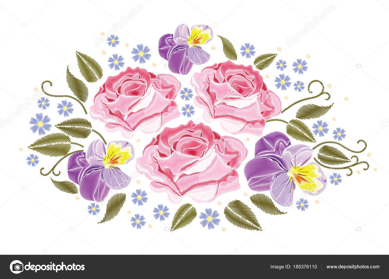 flowers roses and pansies isolated on white background. vector