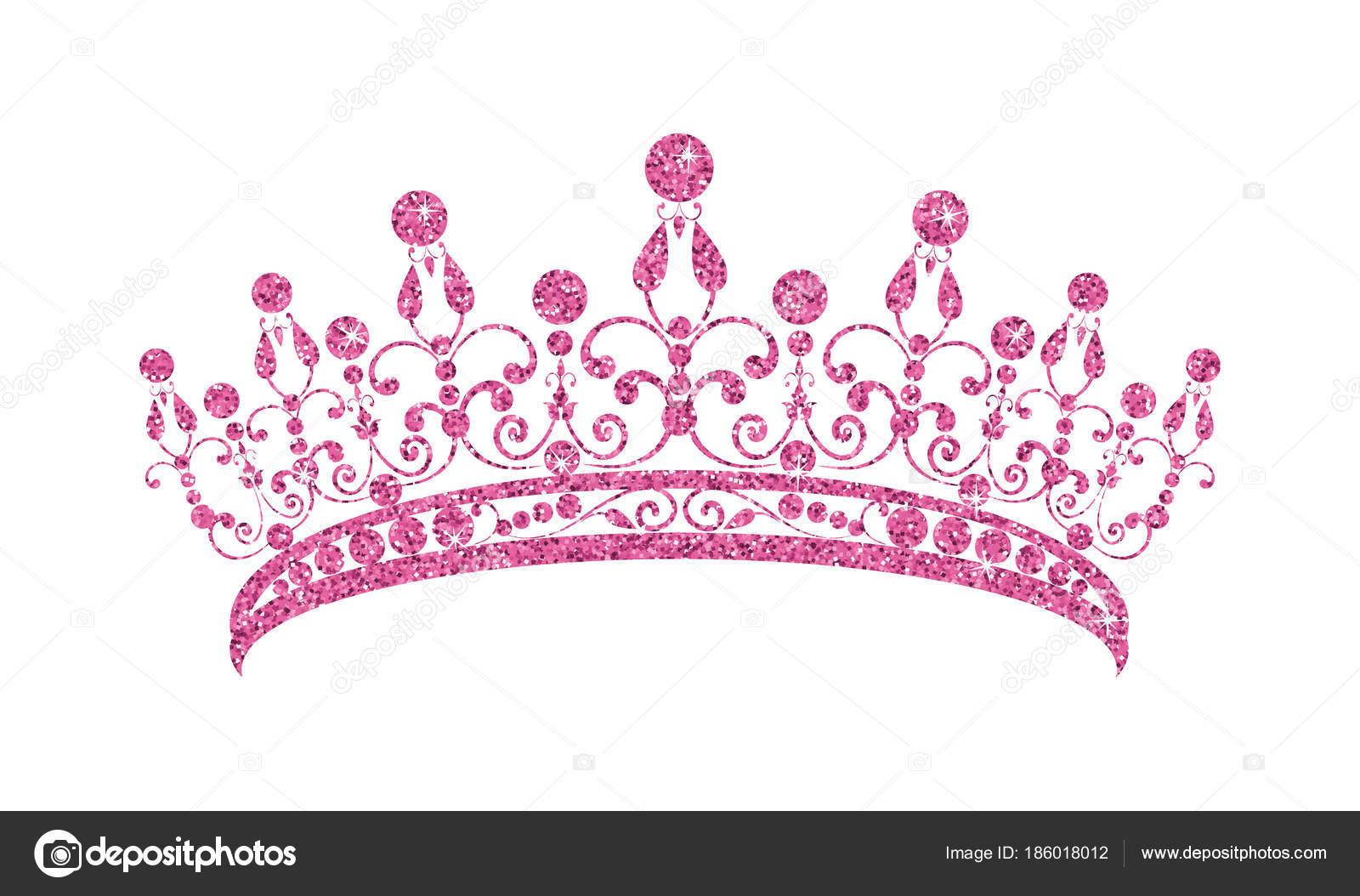 Diadema de brillante. Tiara rosa aislado sobre fondo blanco — Vector ...