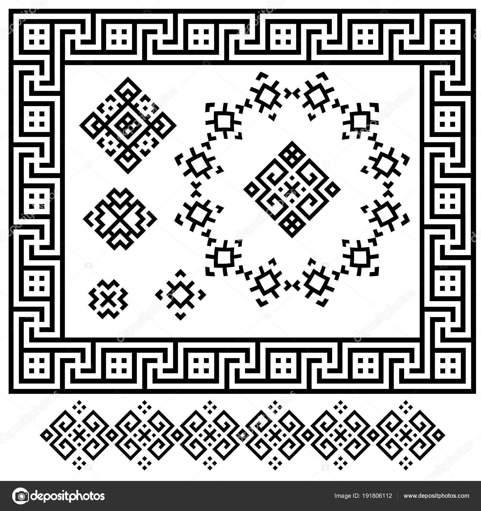 Un conjunto de blanco y negro diseños geométricos. Signos, marcos y ...