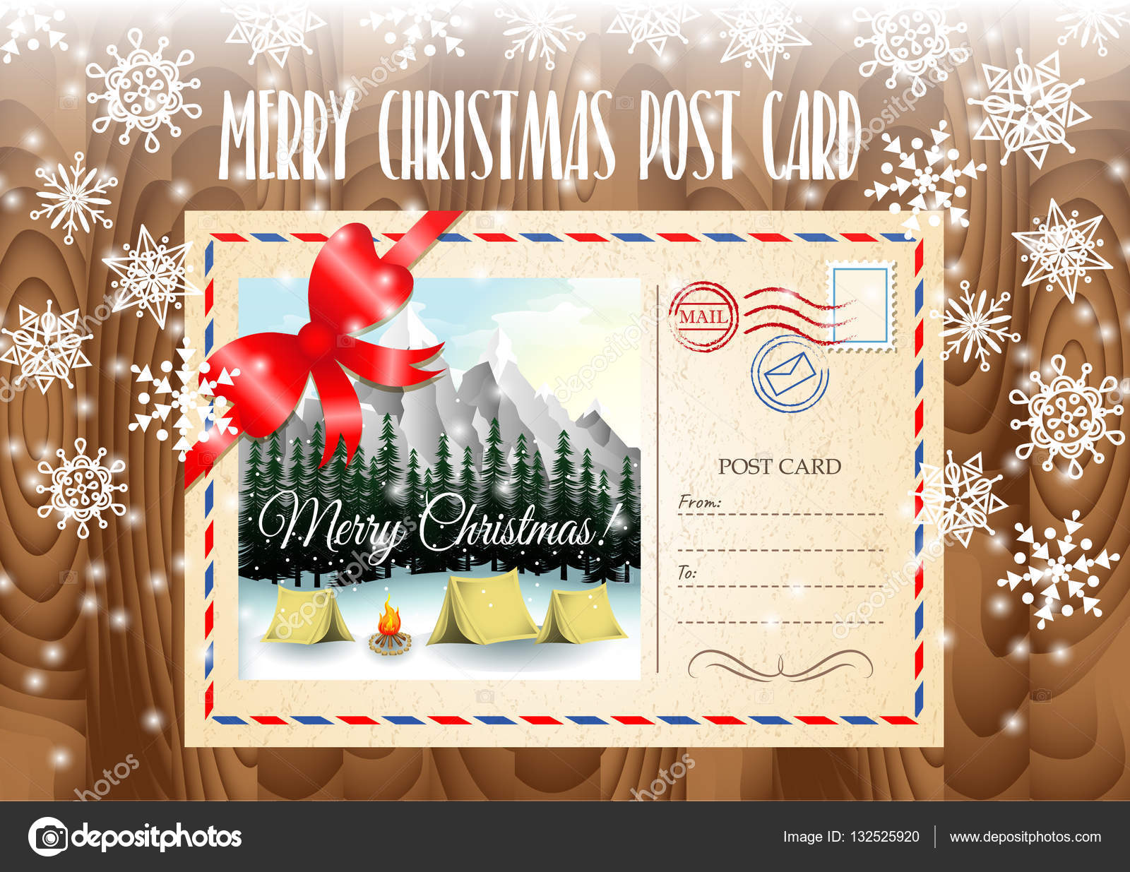 Camping Christmas Cards.Merry Christmas Post Card Design Merry Christmas Post Card