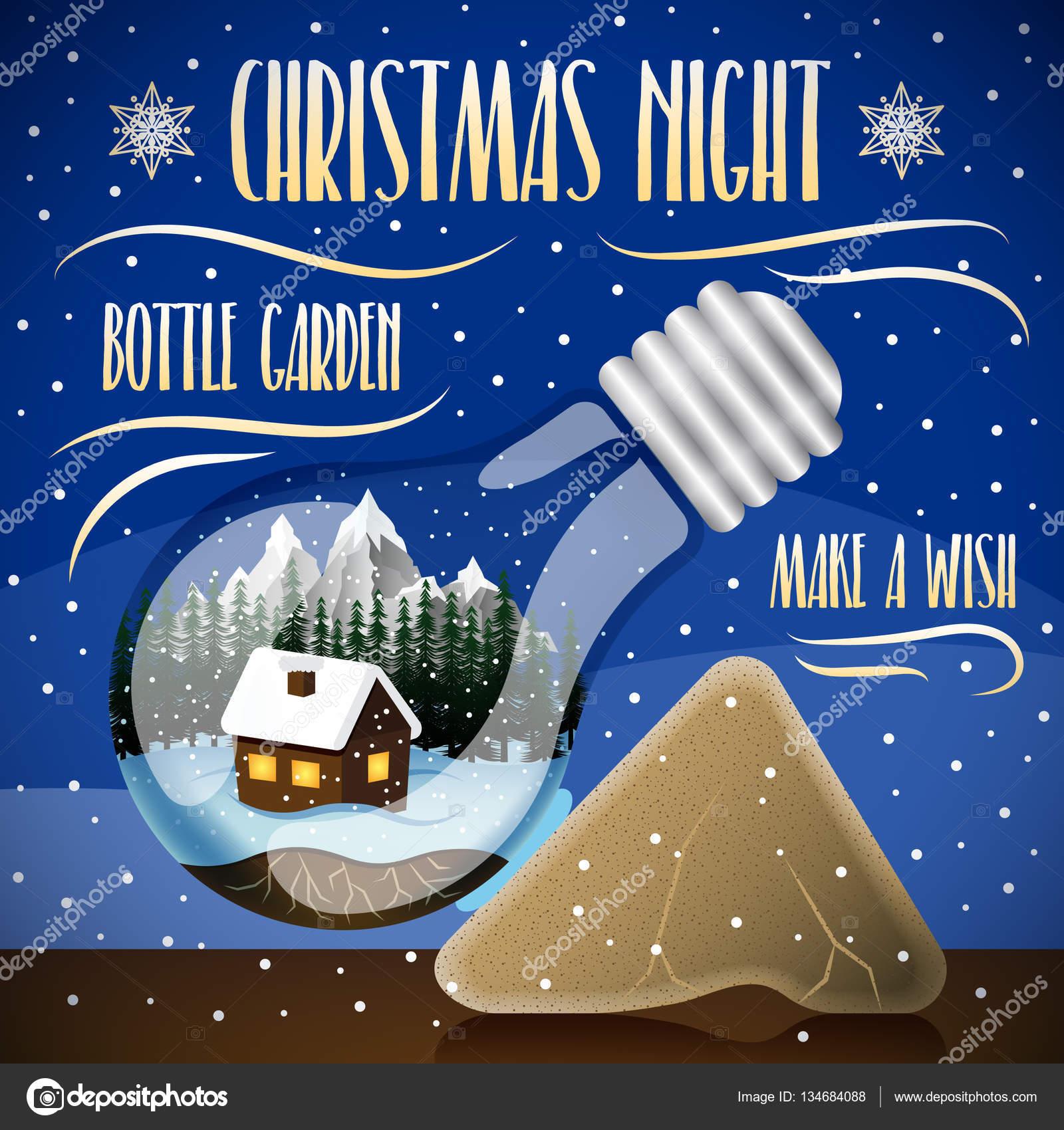 Heilige Nacht mit Schnee Hintergrund. Haus auf einem Winter ...
