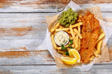 fish and chips - fried cod, french fries