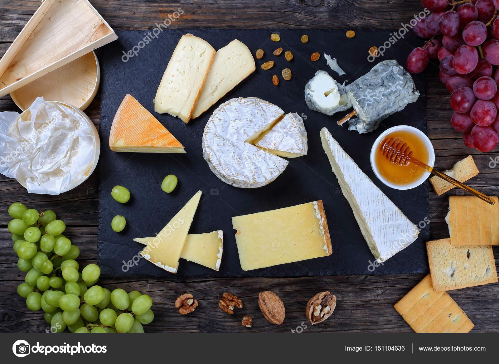 Authentic french Cheese plate top view \u2014 Stock Photo & authentic french Cheese plate top view \u2014 Stock Photo © zhupanova ...