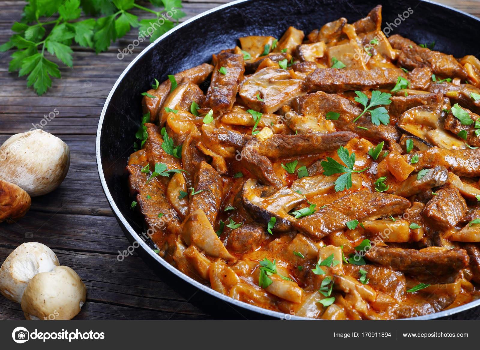 Close Up Of Tasty Beef Stroganoff With Mushrooms Stock Photo