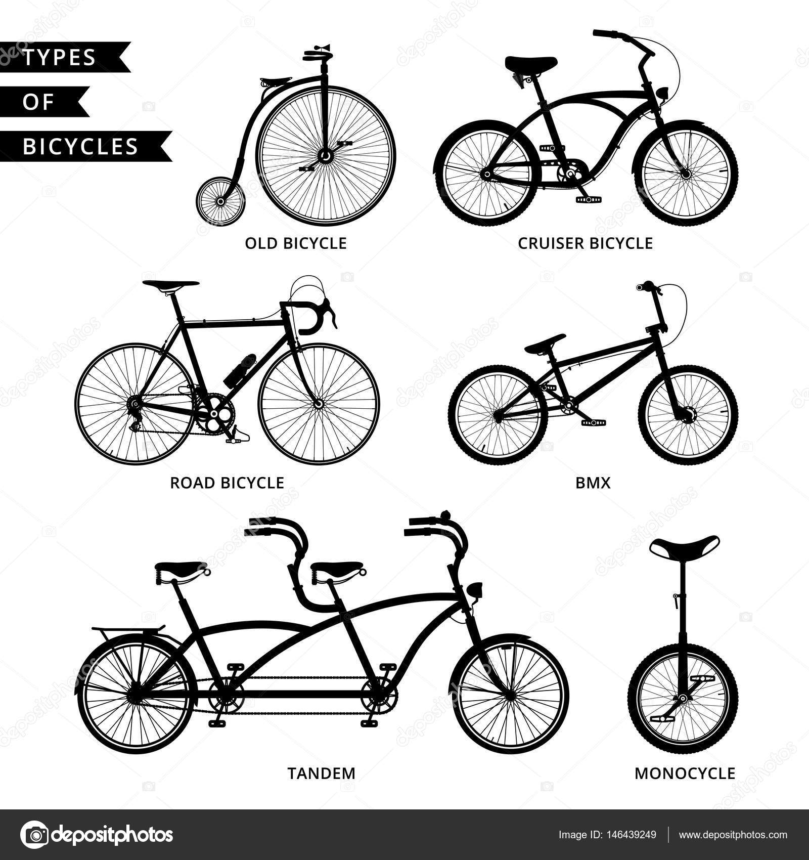 Types Of Bicycles >> Types Of Bicycles Silhouette Stock Vector C Ko T 3208 Gmail Com