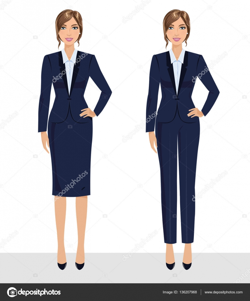 Elegant Pretty Business Woman In Formal Clothes Base Wardrobe