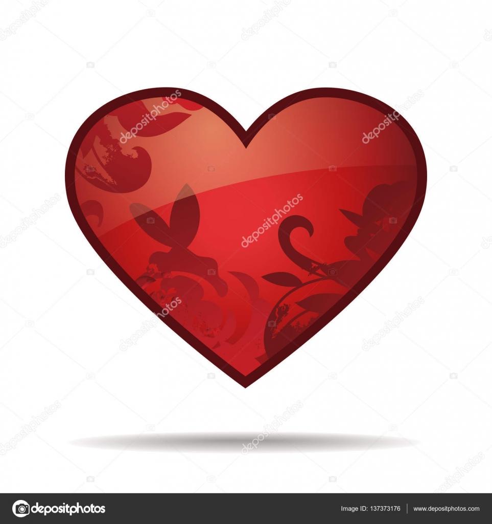 Original rotes Herz. Valentins Tag Vektor Vorlage isoliert auf weiss ...