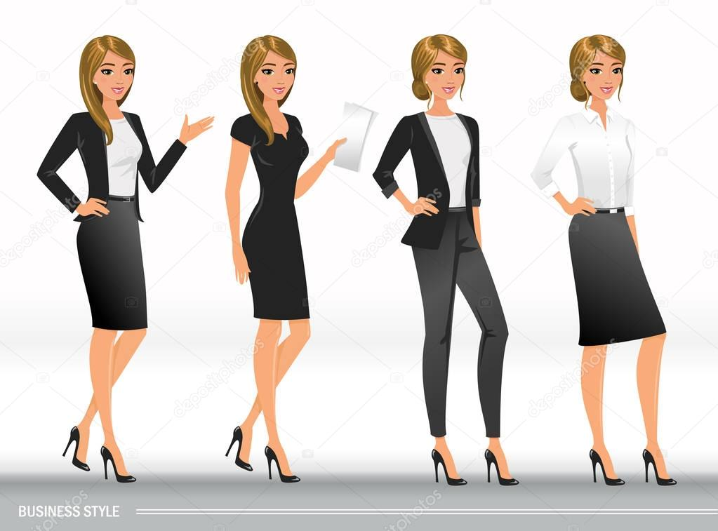✅ Elegant business women in formal clothes. Base wardrobe, feminine  corporate dress code. Women in office clothes.Vector illustration with  isolated characters. premium vector in Adobe Illustrator ai ( .ai ) format,  Encapsulated