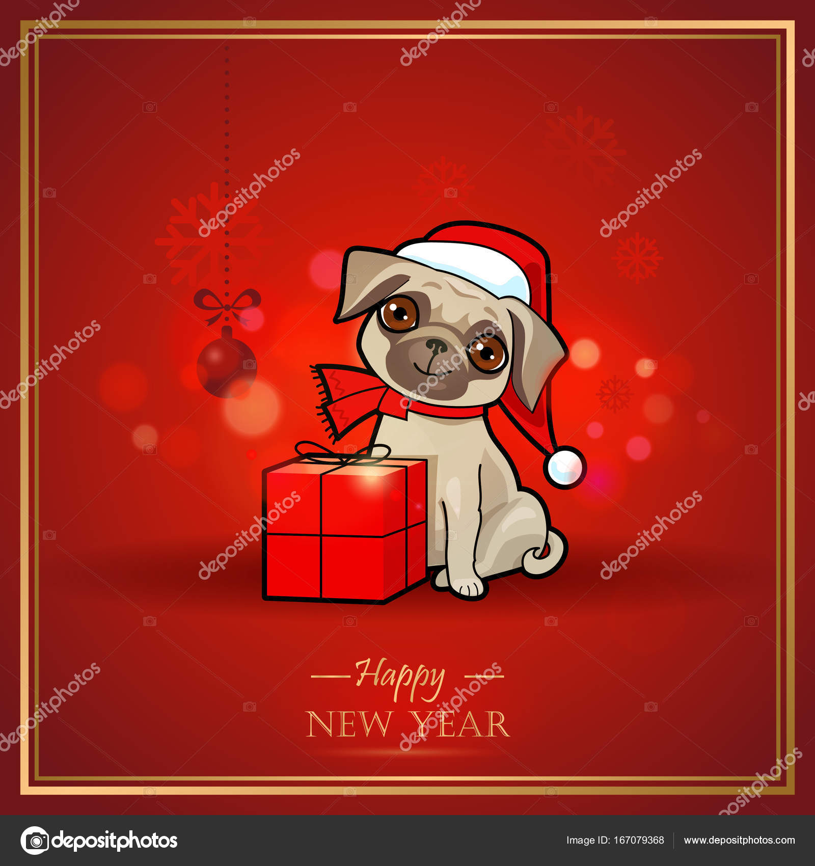 Christmas And New Year Card With Cute Dog Christmas Design Greeting