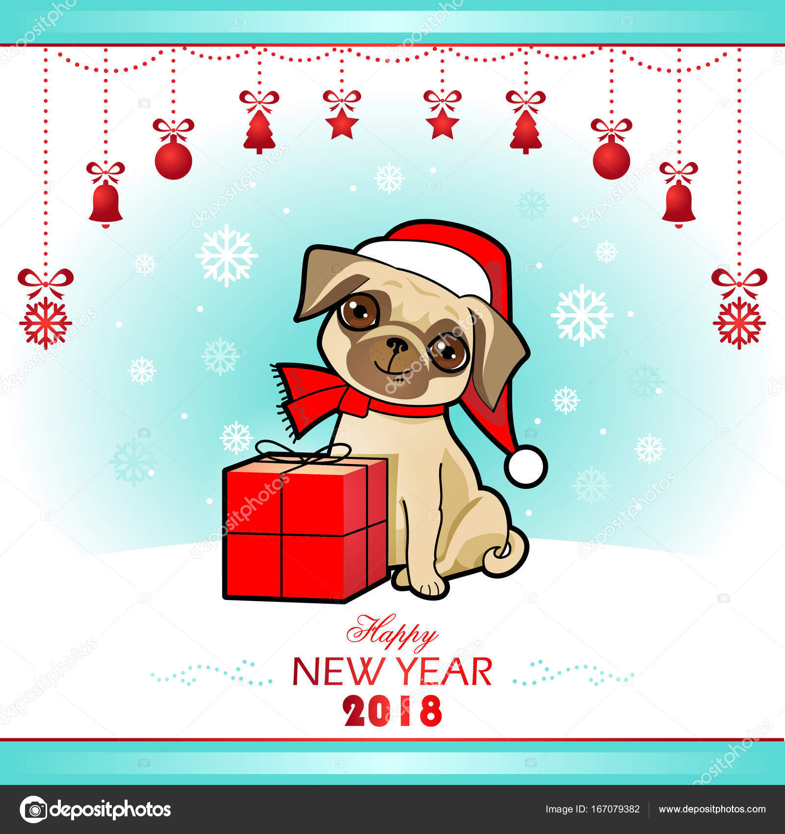 christmas and new year card with cute dog christmas design greeting card invitation