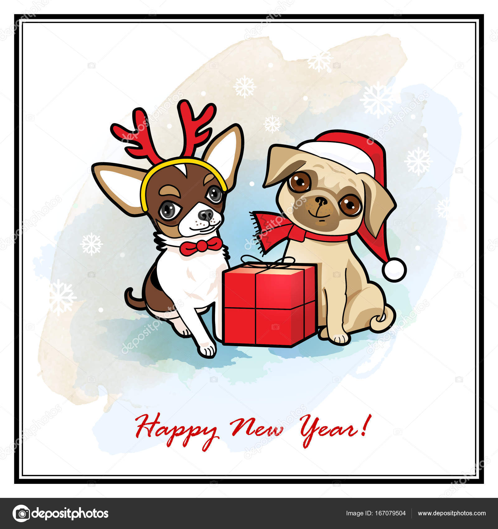 Christmas And New Year Card With Cute Dogs Dogs Disguised In Santa