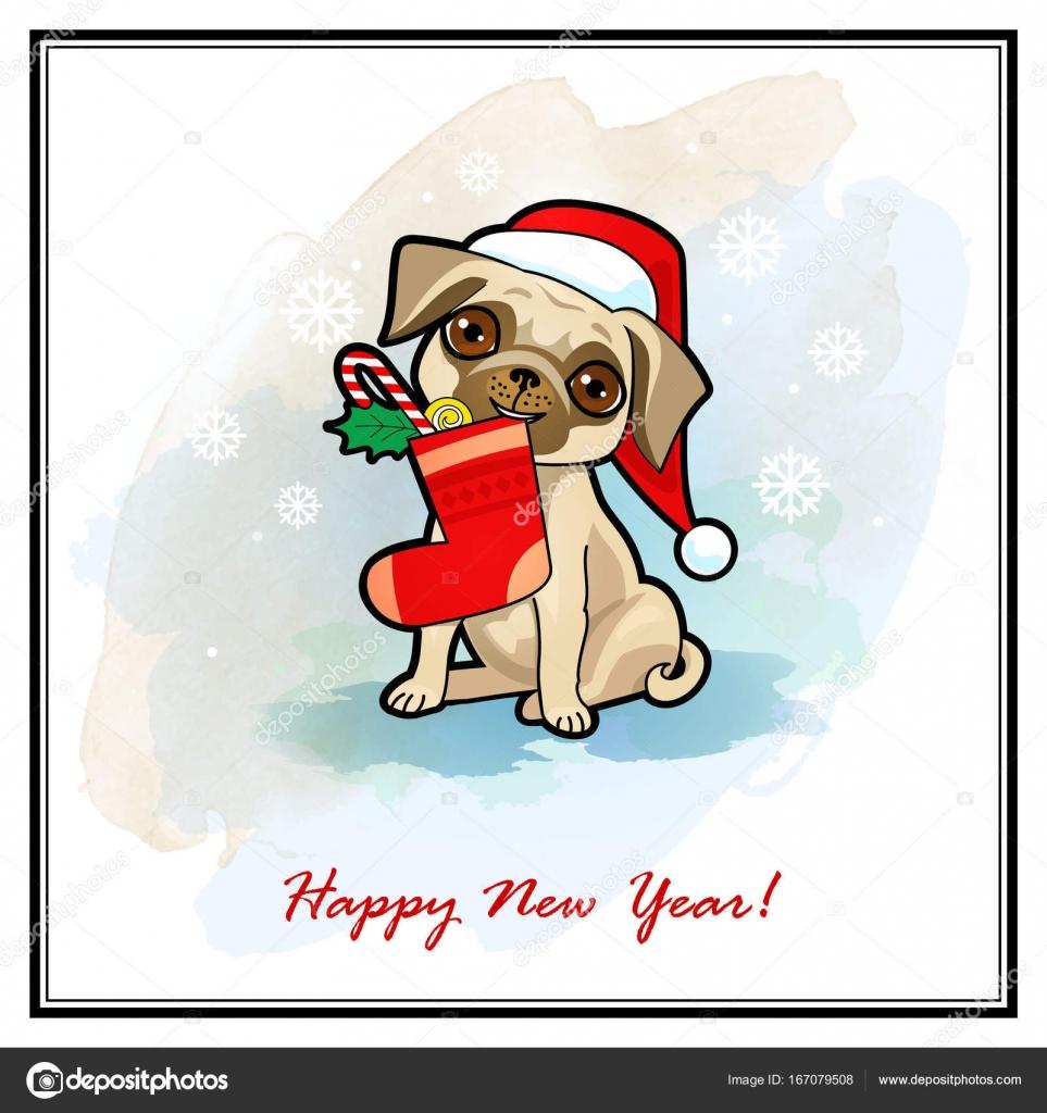 Weihnachten und Neujahr Karte mit niedlichen Hund. Hunde im ...